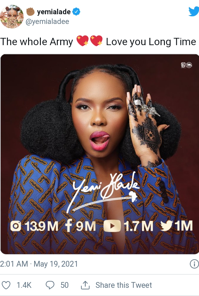 Yemi Alade Celebrates 1 Million Followers On Twitter
