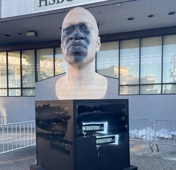 George Floyd's Statue Defaced In Brooklyn Weeks After Trial