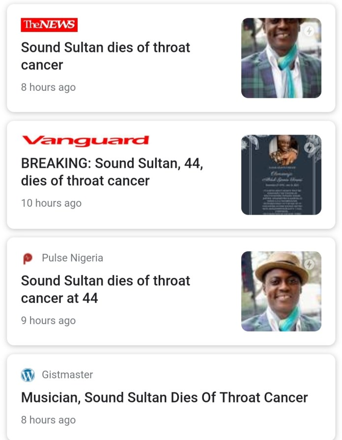 Factchecker: Did Sound Sultan Die Of Throat Cancer As Claimed?