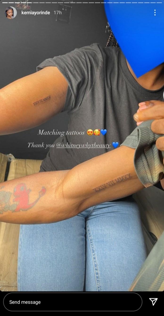 Singer Lyta And Baby mama Kemi Get Matching Tattoos