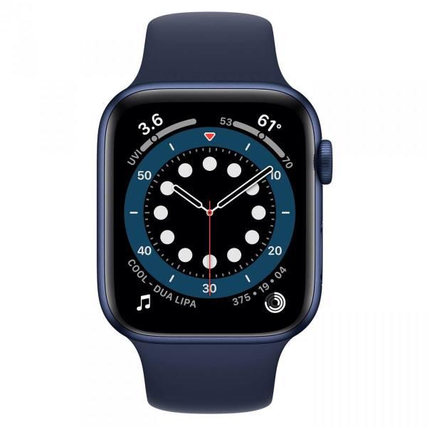 Часы Apple Watch Series 6, Размер корпуса 44 мм, GPS, Корпус из алюминия синего цвета, спортивный ремешок цвета «Тёмный ультрамарин»