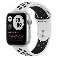 Часы Apple Watch Series 6 Nike, Размер корпуса 44 мм, GPS, Корпус из алюминия серебристого цвета, спортивный ремешок Nike цвета «чистая платина/чёрный»