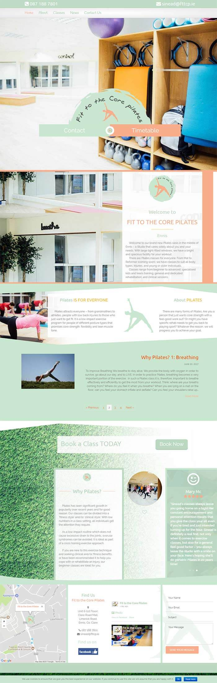 Fit to the core entire home page of website