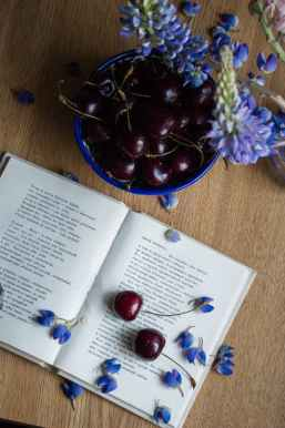 opened book placed on table with cherries and blue flowers