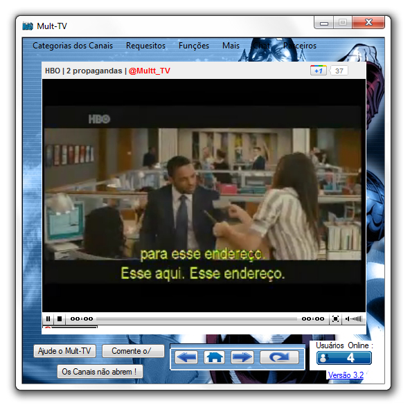 A interface do Mult-TV