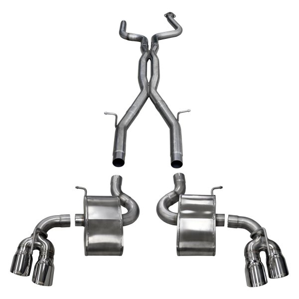 corsa xtreme plus 304 ss cat back exhaust system with quad rear exit