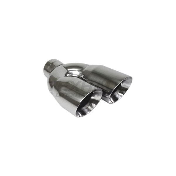 different trend dt 30483l hi polished series stainless steel driver side staggered round angle cut dual exhaust tip 3 inlet 12 length