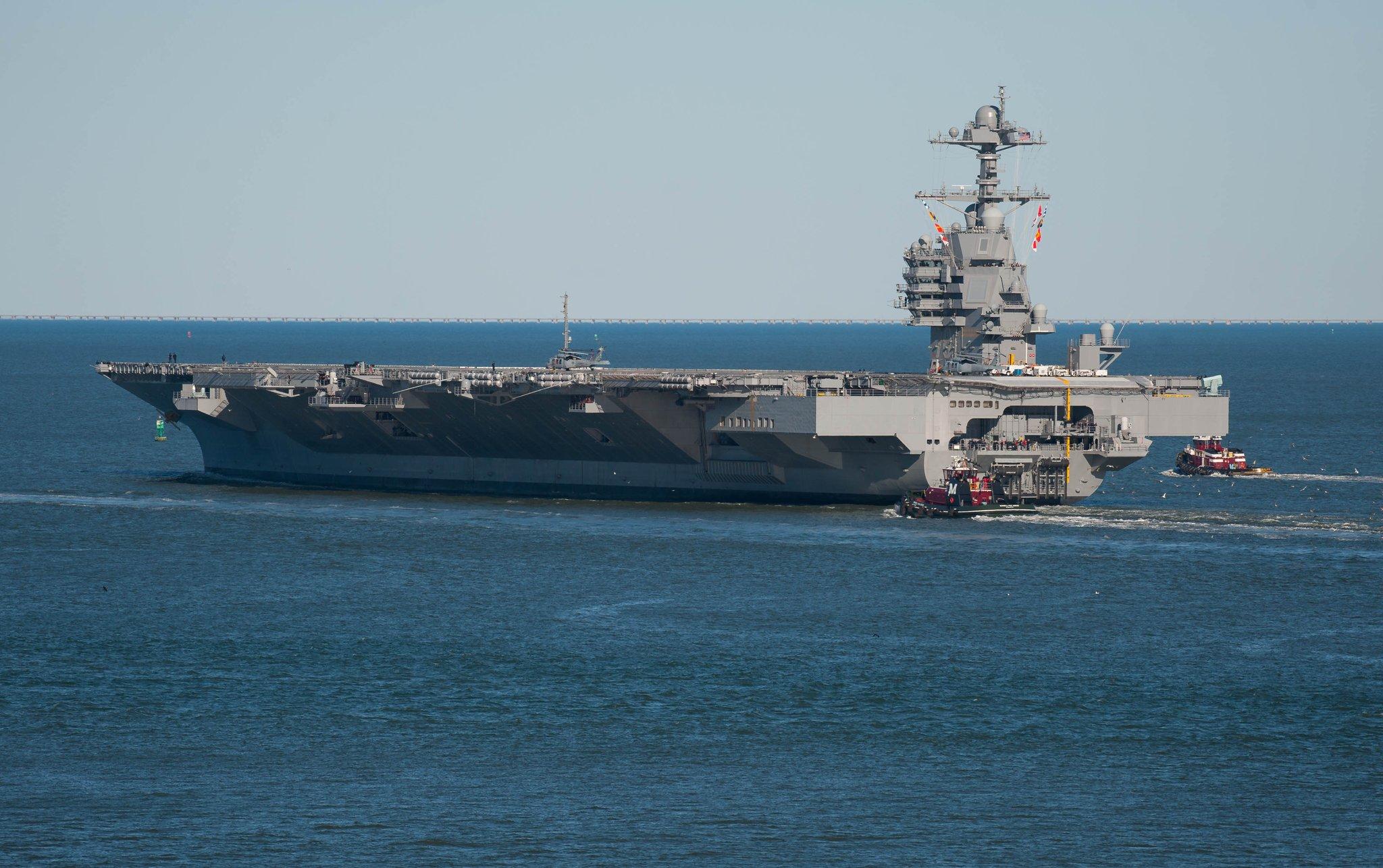 美國HII工業New Port News造船廠:美國海軍Gerald R. Ford級USS Gerald R. Ford (CVN-78)福特號航空母艦-開始海上測試作業 @ 阿 ...