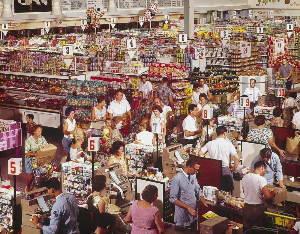 Супермаркет в городке Роквилл, штат Мэриленд, 1964 год