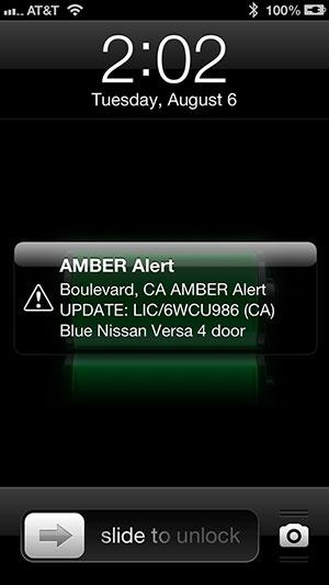 Amber Alert Message