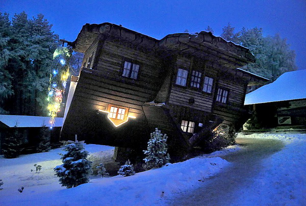 Upside Down House at Night