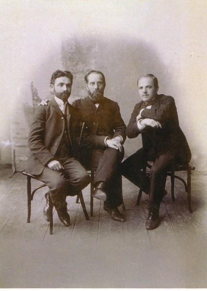 слева направо: Симха Бен-Цви (Семен Гутман), Иешуа Равницкий, Хаим Нахман Бялик