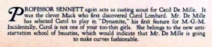 carole lombard 1929 magazine caption