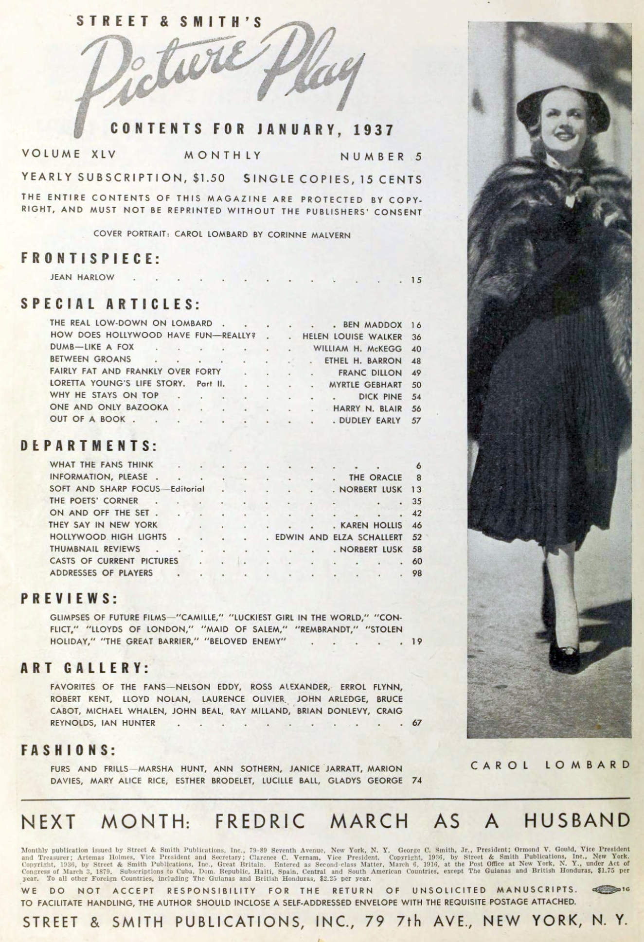 carole lombard picture play january 1937 table of contents large