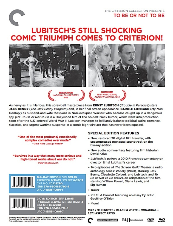 carole lombard to be or not to be criterion back large