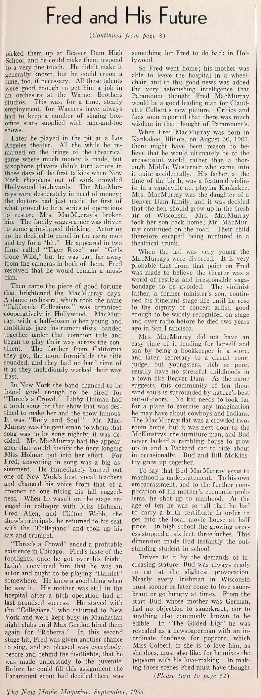 fred macmurray the new movie magazine september 1935ba
