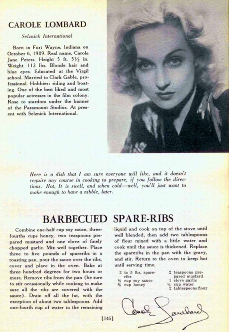 carole lombard what actors eat when they eat 00a