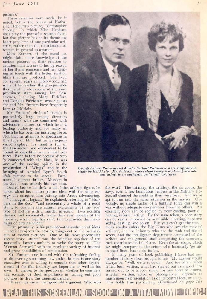 amelia earhart screenland june 1933da