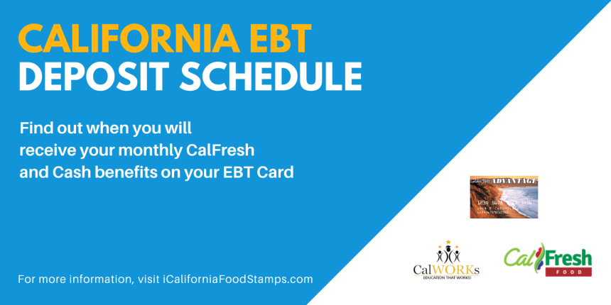 """California EBT Deposit Schedule"""