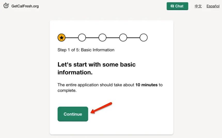 """Apply for Calfresh online - step 1"""