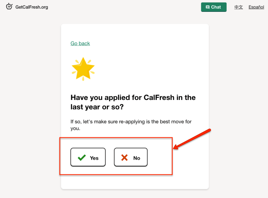 """""""Applying for Calfresh - Have you applied before"""""""