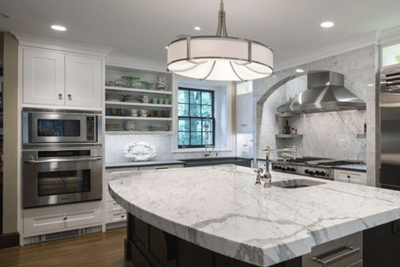 White Kitchen Cabinets with Stainless Steel Appliances