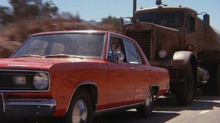 Dennis Weaver is a salesman chased by a malicious truck driver in Steven Spielberg's thriller DUEL (1971)