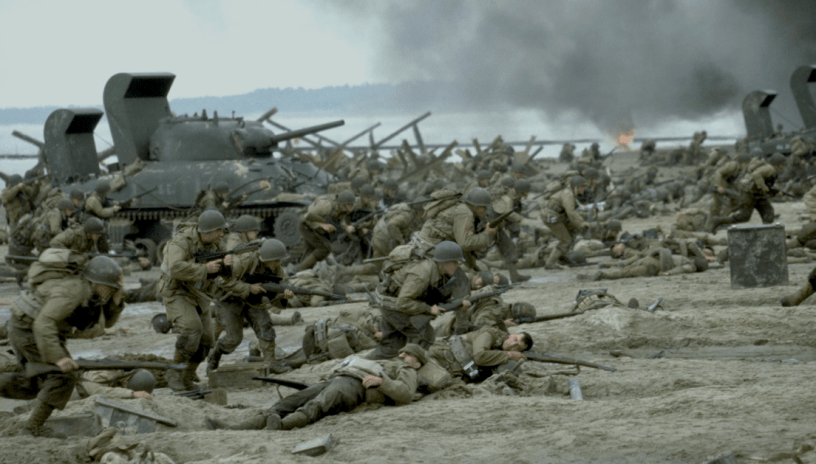 U.S. forces invade the beaches of Normandy in Steven Spielberg's WWII epic SAVING PRIVATE RYAN (1998)
