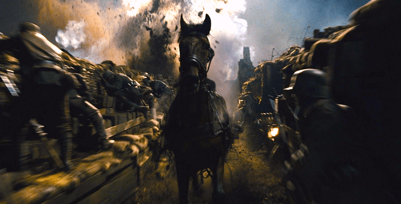 The horse Joey races through the trenches of World War I in Steven Spielberg's WAR HORSE (2011)