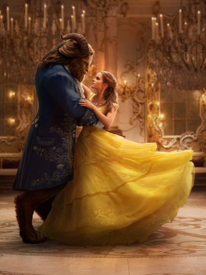 Beauty and the Beast (2017) Beast (Dan Stevens) and Belle (Emma Watson) in the Ballroom of the Beast's castle.