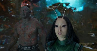 Dave Bautista as Drax and Pom Klementieff as Mantis