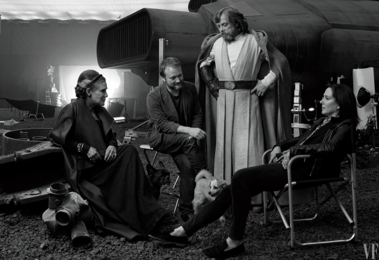 Carrie Fisher, writer/director Rian Johnson, Mark Hamill, and Lucasfilm CEO Kathleen Kennedy on set for STAR WARS: THE LAST JEDI