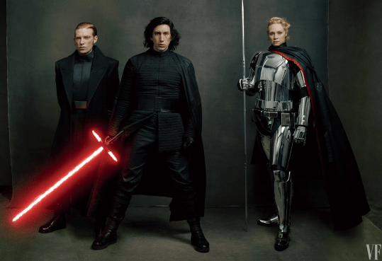 Domhnall Gleeson, Adam Driver, and Gwendoline Christie star in STAR WARS: THE LAST JEDI