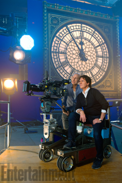 Director Rob Marshall (seated) on set of MARY POPPINS RETURNS.