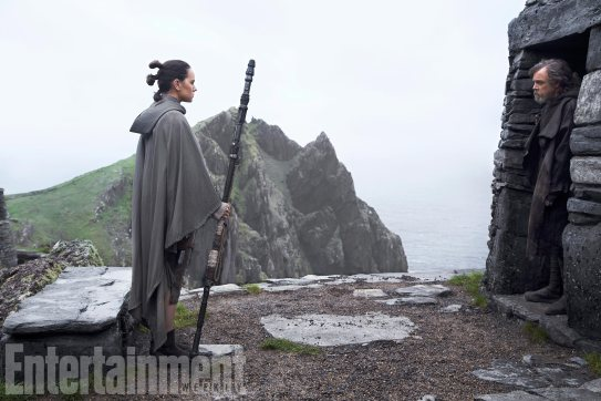 Daisy Ridley and Mark Hamill star as Rey and Luke in STAR WARS: THE LAST JEDI.