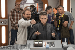 Rian Johnson and Carrie Fisher on set of STAR WARS: THE LAST JEDI.
