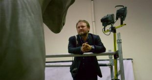 Writer/Director Rian Johnson on set of STAR WARS: THE LAST JEDI.