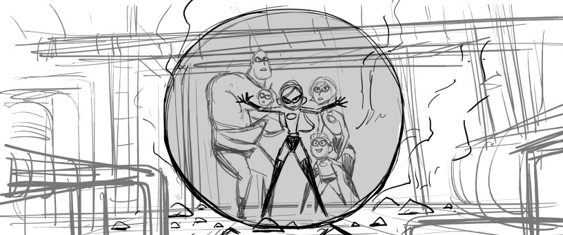 """Progression Image 1 of 5: Story - This storyboard was drawn by story artist Bobby Rubio for the sequence called """"Stop the Tunneler."""" Storyboards are drawn by story artists in order to pre-visualize the film as the script is being written. They are placed side-by-side in sequence by the editorial team, to convey the pace of scenes and deliver a rough sense of how the story unfolds. This storyboard is one of approximately 410 boards delivered to editorial for this particular sequence. In total, 52,725 storyboards were delivered for the entire film. ©2018 Disney•Pixar. All Rights Reserved."""