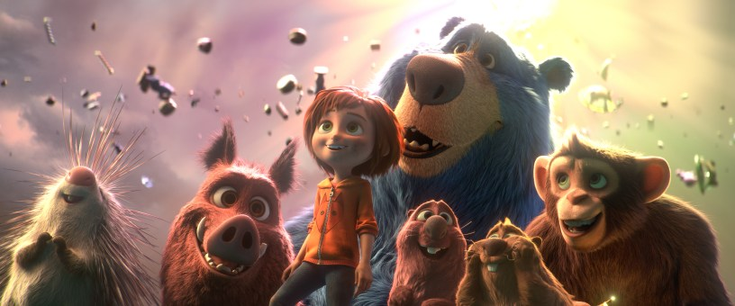 Steve, Greta, June, Cooper, Gus, Peanut, and (in the back) Boomer the Blue Bear in Paramount Animation's WONDER PARK