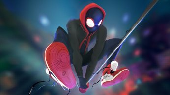 Miles Morales swings in SPIDER-MAN: INTO THE SPIDER-VERSE (2018)