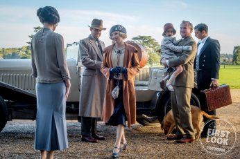 DOWNTON ABBEY (l-r.) Elizabeth McGovern as Cora Crawley, Harry Haddon-Paton as Bertie Pelham, Laura Carmichael as Edith Crawley, Hugh Bonneville as Robert Crawley and Michael Fox as Andy