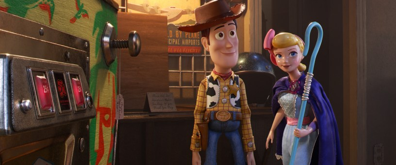 The voices of Tom Hanks (Woody) and Annie Potts (Bo Peep) star in Pixar's TOY STORY 4 (2019)