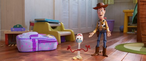 The voices of Tom Hanks (Woody) and Tony Hale (Forky) star in Pixar's TOY STORY 4 (2019)