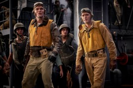 Dick Best (Ed Skrein, left) and Clarence Dickinson (Luke Kleintank, right) in MIDWAY.