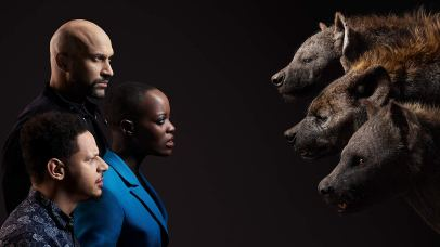 The voices of Keegan-Michael Key (Kamari), Florence Kasumba (Shenzi), and Eric André (Azizi) co-star in THE LION KING (2019)