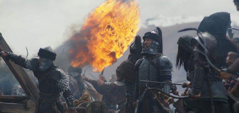 Warriors prepare fire attack in Disney's live action remake of MULAN (2020)