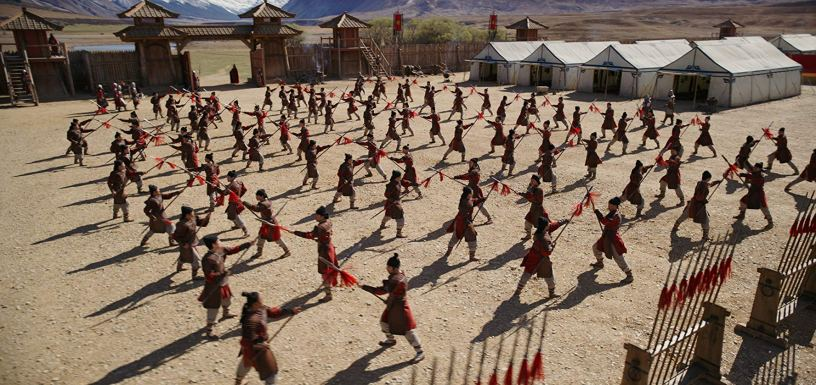 Warriors at training camp in Disney's live action remake of MULAN (2020)