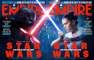 Side-by-side cover photos of Kylo Ren and Rey, for Empire Magazine's cover story for STAR WARS: THE RISE OF SKYWALKER (2019)