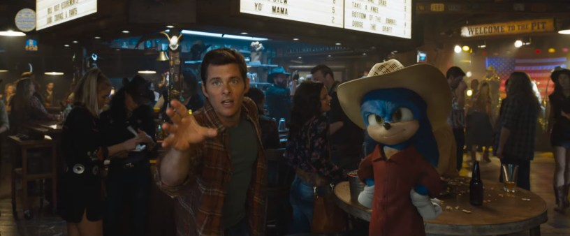James Marsden (as Tom Wachowski) and the voice of Ben Schwartz (Sonic) star in the animation / live action hybrid SONIC THE HEDGEHOG (2020)