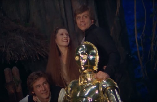 On set photo of the final scene from THE RETURN OF THE JEDI (1983)